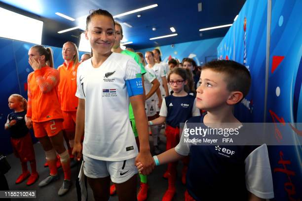 Ali Riley of New Zealand speaks with her mascot in the tunnel prior to the 2019 FIFA Women's World Cup France group E match between New Zealand and...