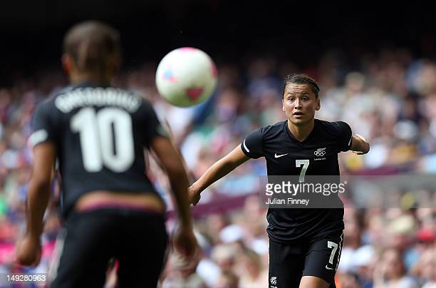 Ali Riley of New Zealand takes a throw on during the Women's Football first round Group E Match of the London 2012 Olympic Games between Great...
