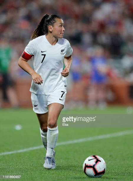 Ali Riley of New Zealand takes the ball in the second half against the the United States at Busch Stadium on May 16, 2019 in St Louis, Missouri.