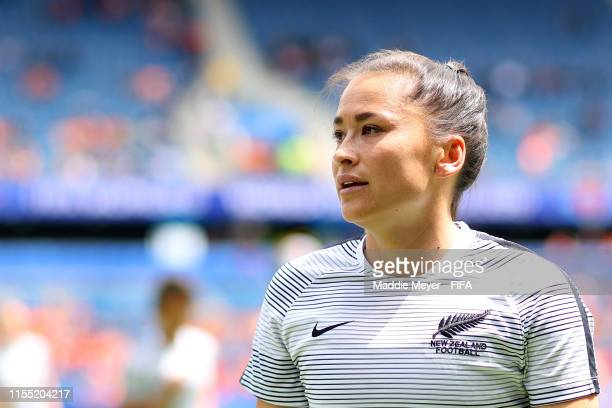 Ali Riley of New Zealand warms up prior to the 2019 FIFA Women's World Cup France group E match between New Zealand and Netherlands at on June 11,...