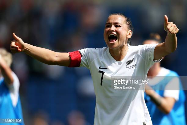 Ali Riley of New Zealand Women celebrates after the International Friendly between England Women and New Zealand Women at Amex Stadium on June 01,...