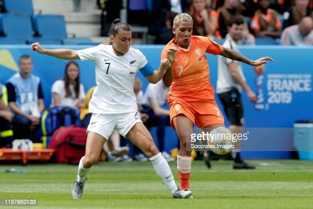 Ali Riley of New Zealand Women, Shanice van de Sanden of Holland Women during the World Cup Women match between New Zealand v Holland at the Stade...