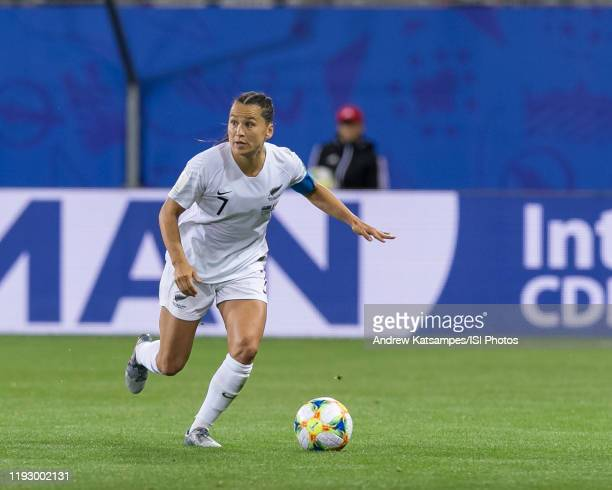Ali Riley of the New Zealand National Team on the attack during a game between New Zealand and Canada at Stade des Alpes on June 15, 2019 in...