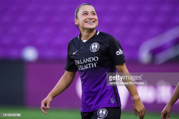 Ali Riley of the Orlando Pride walking out before a game between NJ/NY Gotham City FC and Orlando Pride at Exploria Stadium on April 14, 2021 in...