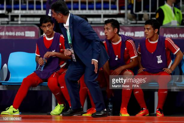 Ali Sanei head coach of IR Iran reacts in the Men's Futsal Group B match between IR Iran and Russia during the Buenos Aires Youth Olympics 2018 at...