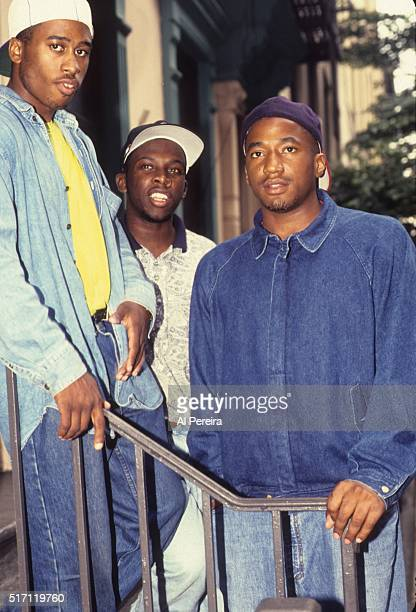 Ali Shaheed Muhammad Phife Dawg and QTIp of the hip hop group 'A Tribe Called Quest' pose for a portrait session in July 1991 in New York
