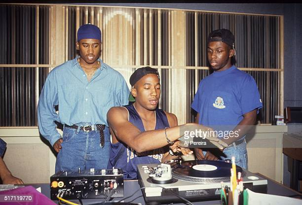 Ali Shaheed Muhammad QTIp and Phife Dawg of the hip hop group 'A Tribe Called Quest' DJ in September 1991 in New York