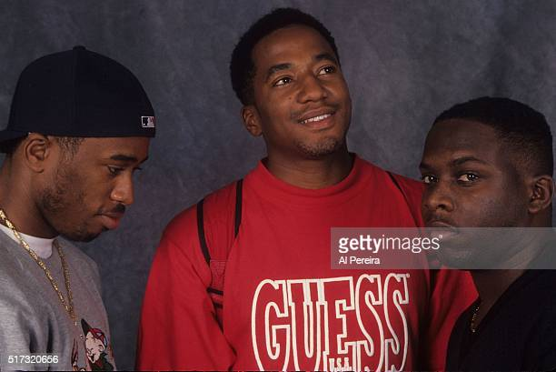 Ali Shaheed Muhammad QTip and Phife Dawg of the hip hop group 'A Tribe Called Quest' pose for a portrait session in September 1993 in New York