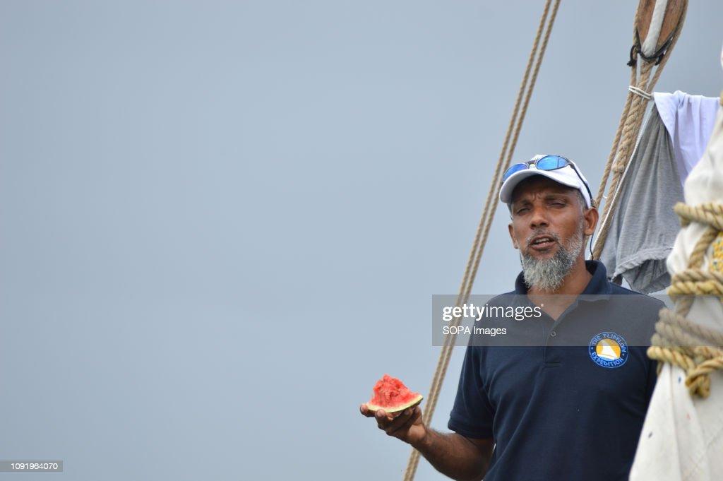 Ali Skanda the FlipFlopi boat builder is seen enjoying a... : News Photo