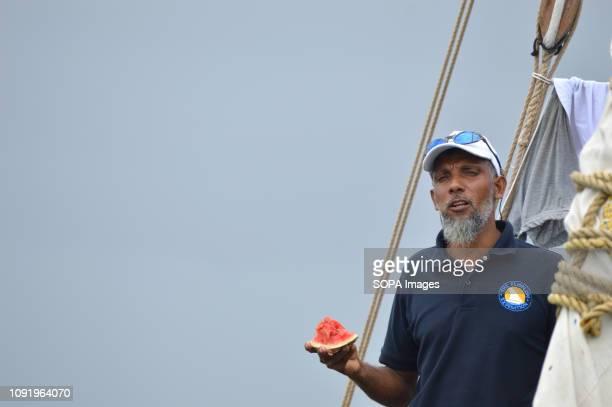 Ali Skanda the FlipFlopi boat builder is seen enjoying a watermelon fruit during the 'Zanzibar' Expedition in Kilifi The 'Zanzibar' expedition is a...