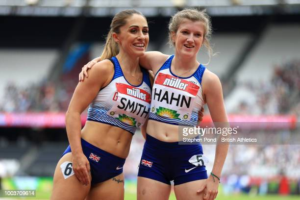 Ali Smith of Great Britain and Sophie Hahn of Great Britain pose for a photo following the T37/38 Women's 200m during Day Two of the Muller...