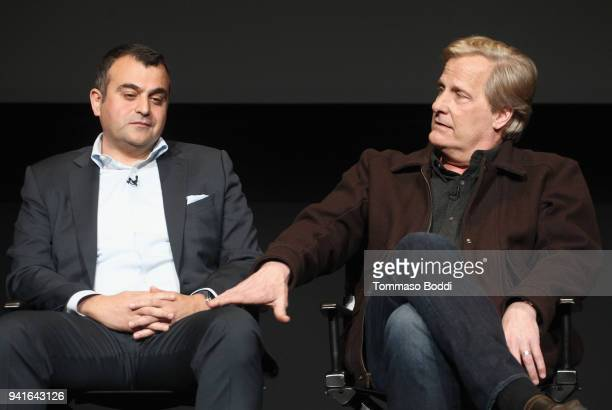 Ali Soufan and Jeff Daniels speak onstage during the The Looming Tower FYC screening at the Television Academy on April 3 2018 in Los Angeles...
