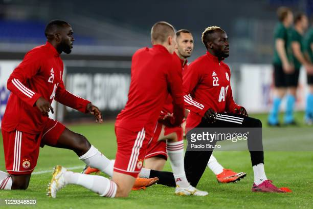 Ali Sowe with his teammates of CSKA-Sofia in action during the warm up before the UEFA Europa League Group A stage match between AS Roma and...
