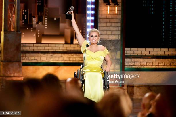 Ali Stroker accepts the Best Performance by an Actress in a Featured Role in a Musical award for Rodgers Hammerstein's Oklahoma onstage during the...