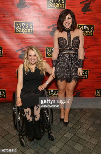 Ali Stroker and Krysta Rodriguez attend The Opening Night of the New Broadway Production of 'Miss Saigon' at the Broadway Theatre on March 23 2017 in...