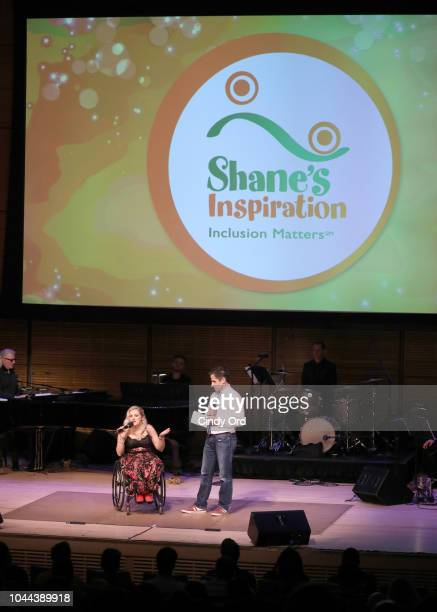 Ali Stroker and Seth Redetsky speak onstage during Broadway's Best Comes Together To Salute Chita Rivera At Touch The Sky A Benefit To Build NY's...