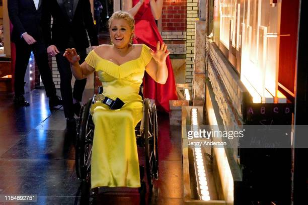 Ali Stroker celebrates her win for Best Featured Actress in a Musical during the 73rd Annual Tony Awards at Radio City Music Hall on June 09 2019 in...
