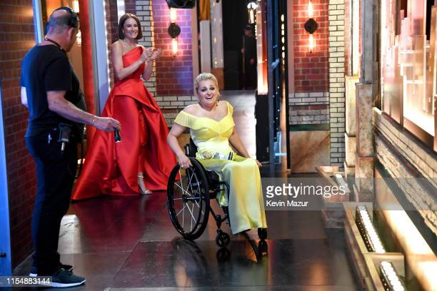 Ali Stroker reacts to winning the Tony for Best Featured Actress backstage during the 73rd Annual Tony Awards at Radio City Music Hall on June 09...