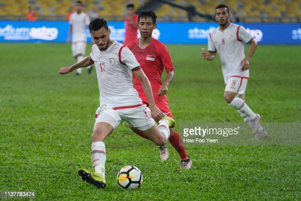 Ali Sulaiman Rashid of Oman in action during the Airmarine Cup final between Singapore and Oman at Bukit Jalil National Stadium on March 23 2019 in...