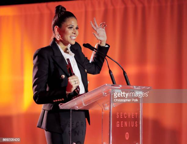 Ali Tamposi accepts an award onstage during Spotify's Inaugural Secret Genius Awards hosted by Lizzo at Vibiana on November 1 2017 in Los Angeles...