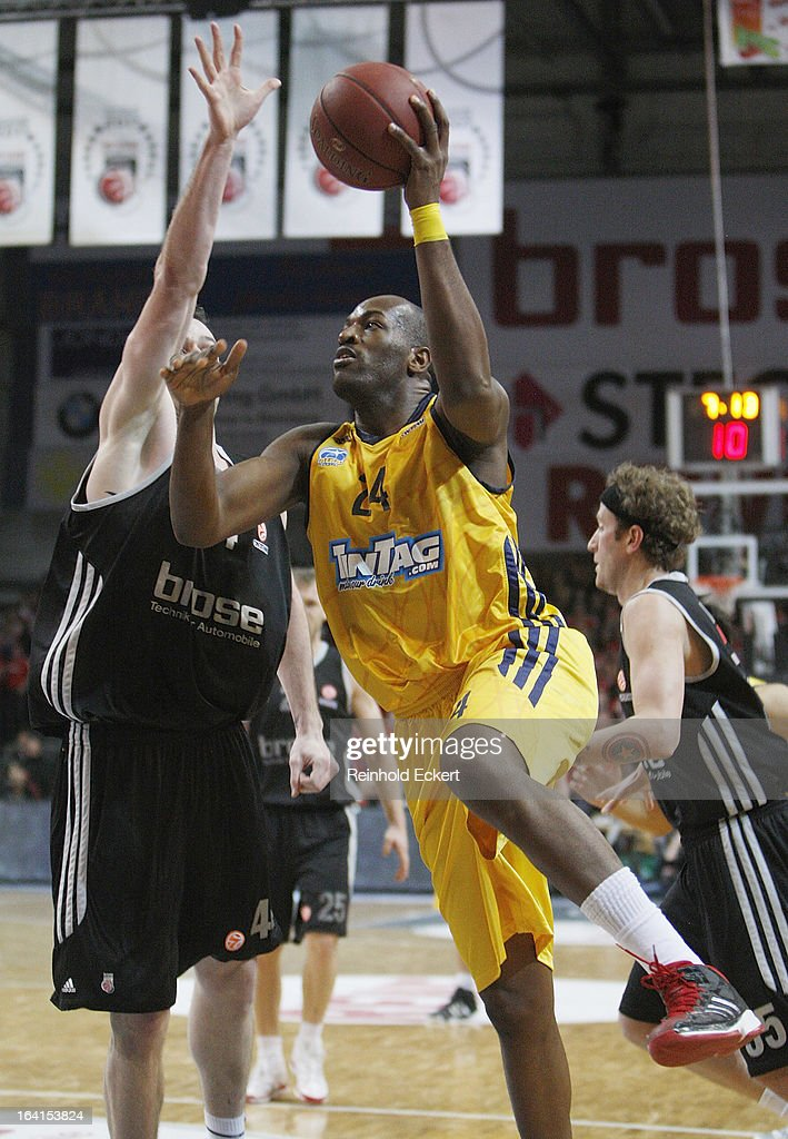 Ali Traore, #24 of Alba Berlin in action during the 2012-2013 Turkish Airlines Euroleague Top 16 Date 12 between Brose Baskets Bamberg v Alba Berlin at Stechert Arena on March 20, 2013 in Bamberg, Germany.