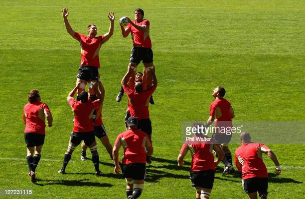 Ali Williams and Anthony Boric jump in the lineout during a New Zealand All Blacks IRB Rugby World Cup 2011 training session at Rugby League Park on...