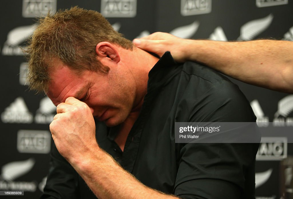 Ali Williams is comforted by All Black coach Steve Hansen as he is overcome with emotion while speaking to the media during a press conference at The Heritage Hotel on May 24, 2013 in Auckland, New Zealand. Ali Williams earlier today announced his retirement from international rugby.