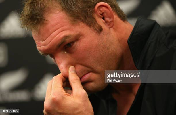 Ali Williams is overcome with emotion as he speaks to the media during a press conference at The Heritage Hotel on May 24 2013 in Auckland New...