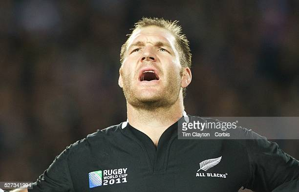 Ali Williams New Zealand during the national anthems before the New Zealand V Australia Semi Final match at the IRB Rugby World Cup tournament Eden...