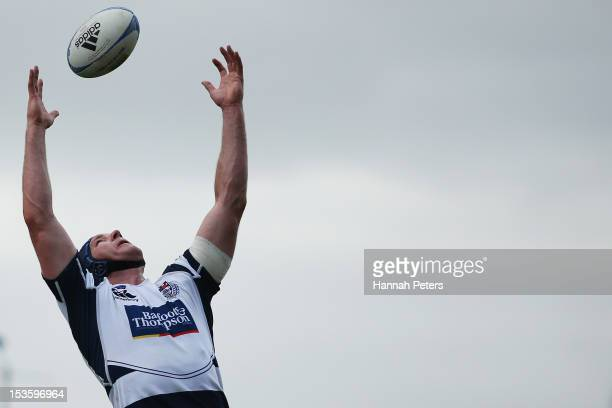 Ali Williams of Auckland competes for lineout ball during the round 13 ITM Cup match between North Harbour and Auckland at North Harbour Stadium on...