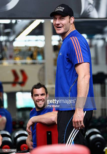 Ali Williams of the All Blacks and Corey Flynn look on during a New Zealand All Blacks IRB Rugby World Cup 2011 gym session at Les Mills on October...