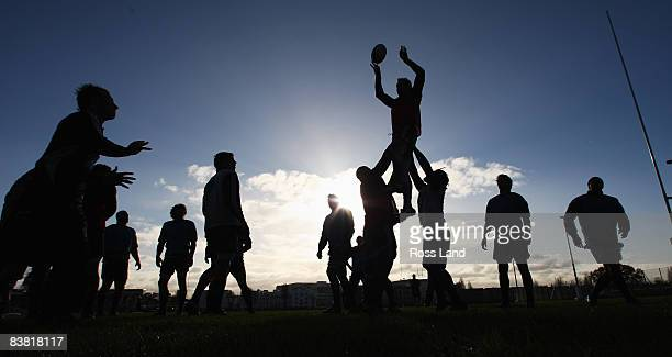 Ali Williams of the All Blacks is lifted in the lineout during a New Zealand All Blacks training session at Latymers Upper school on November 25 2008...