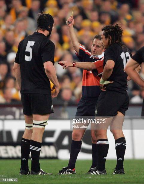 Ali Williams of the All Blacks is shown a yellow crad from referee Jonathan Kaplan during the Bledisloe Cup match between the Australian Wallabies...
