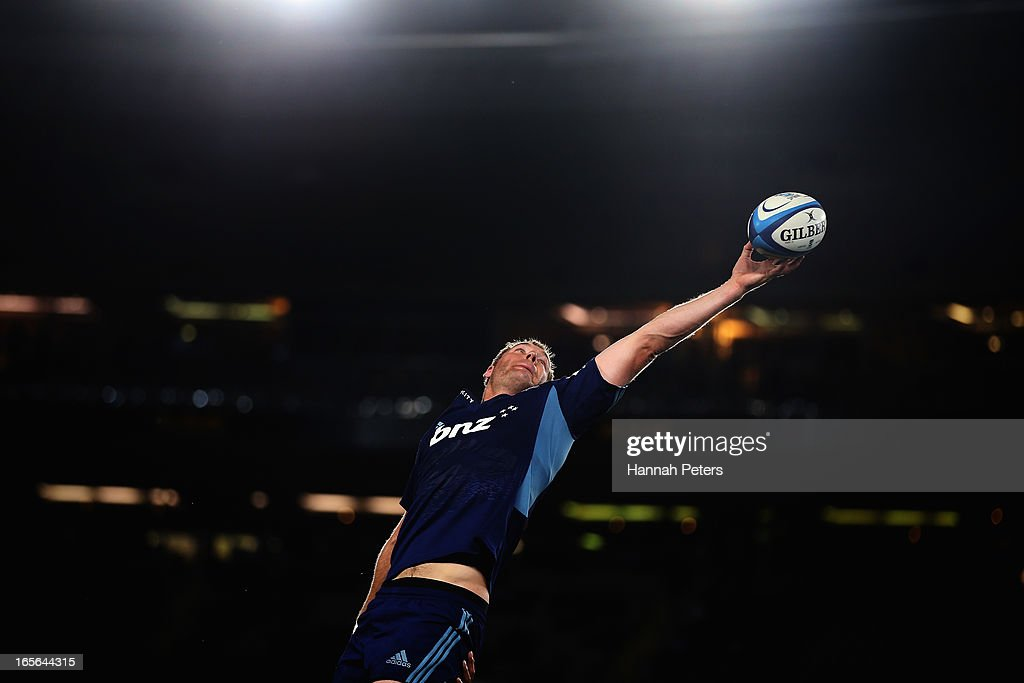 Ali Williams of the Blues collects the lineout ball during the round eight Super Rugby match between the Blues and the Highlanders at Eden Park on April 5, 2013 in Auckland, New Zealand.