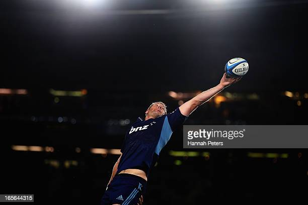 Ali Williams of the Blues collects the lineout ball during the round eight Super Rugby match between the Blues and the Highlanders at Eden Park on...