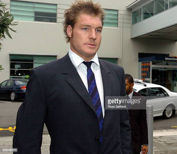 Ali Williams of the Blues Super 12 rugby team arrives at the New Zealand Rugby Union offices for a judicial hearing, Wellington, New Zealand,...