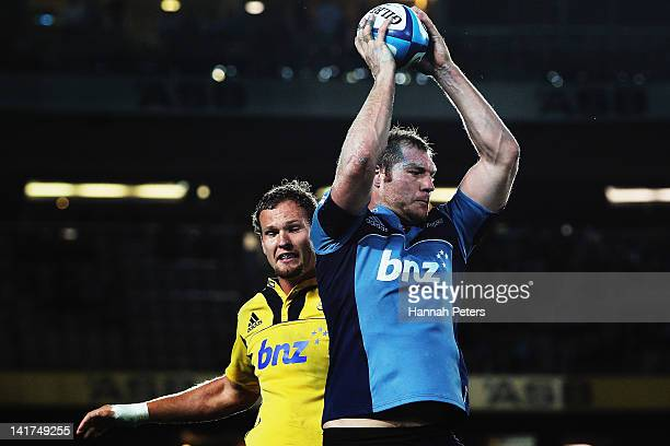 Ali Williams of the Blues wins lineout ball during the round five Super Rugby match between the Blues and the Hurricanes at Eden Park on March 23...