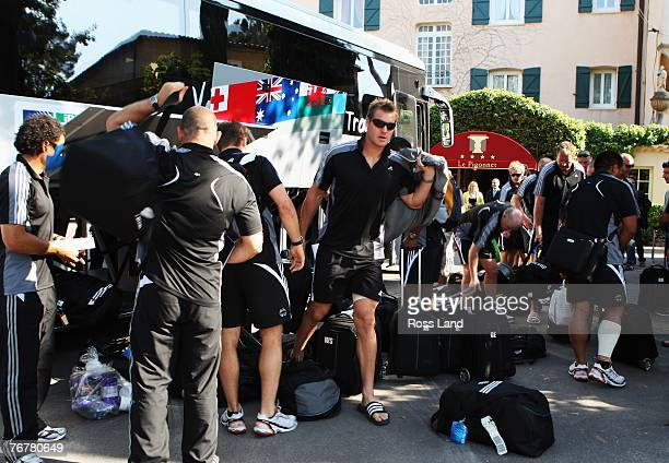 Ali Williams of the New Zealand All Blacks collects his their at the team hotel on September 16 2007 after they traveled from Lyon to Aix en Provence...