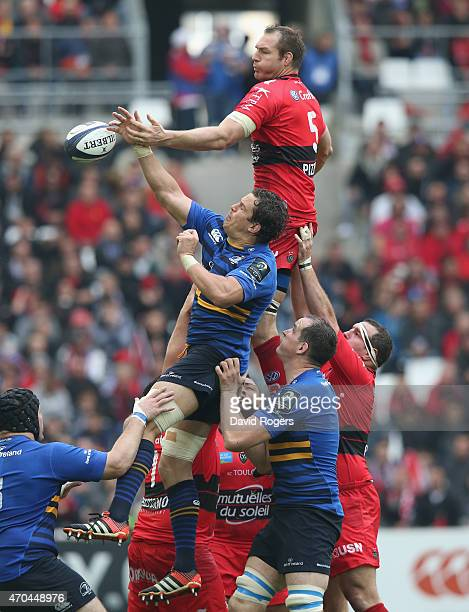 Ali Williams of Toulon beats Mike McCarthy to the lineout ball during the European Rugby Champions Cup semi final match between RC Toulon and...