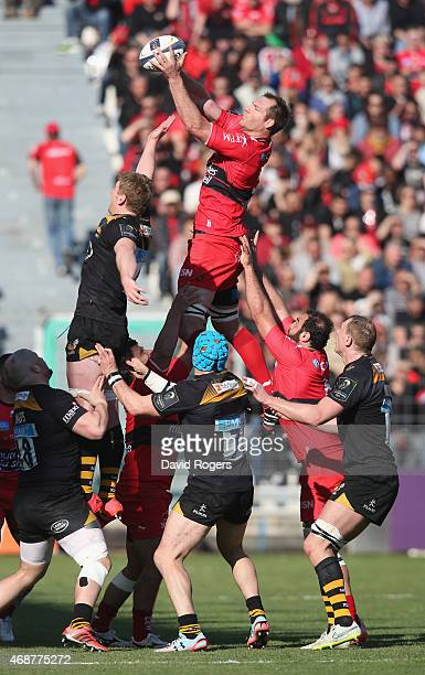 Ali Williams of Toulon wins the lineout during the European Rugby Champions Cup quarter final match between RC Toulon and Wasps at the Felix Mayol...