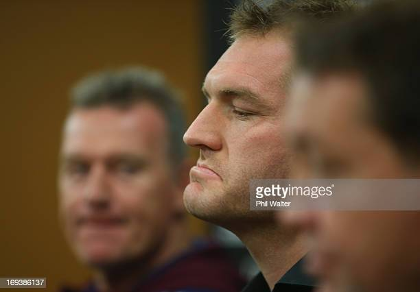 Ali Williams speaks to the media during a press conference alongside Blues coach Sir John Kirwan and All Black coach Steve Hansen at The Heritage...