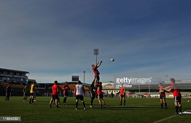 Ali Williams takes the ball in the lineout during a New Zealand All Blacks training session at Carisbrook on July 19 2011 in Dunedin New Zealand
