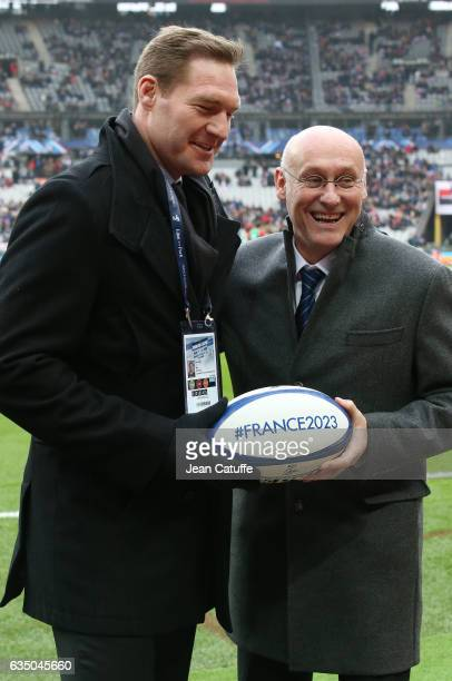 Ali Williams working for the BBC and President of French Rugby Federation Bernard Laporte who promotes the French candidacy to organize the Rugby...