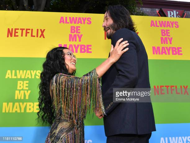 Ali Wong and Keanu Reeves attend the world premiere of Netflix's 'Always Be My Maybe' at Regency Village Theatre on May 22 2019 in Westwood California