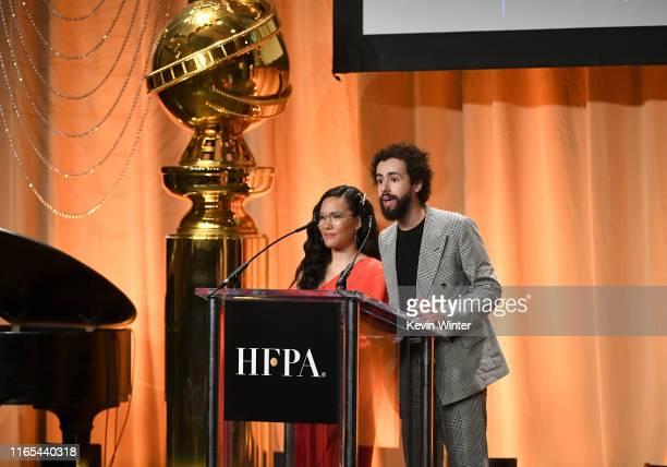 Ali Wong and Ramy Youssef speak onstage during Hollywood Foreign Press Association's Annual Grants Banquet at Regent Beverly Wilshire Hotel on July...