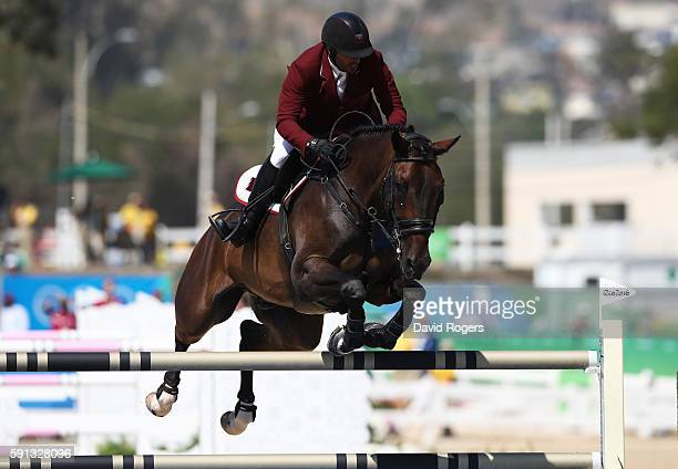 Ali Yousef Al Rumaihi of Qatar rides Gunder during the Individual Jumping 3rd Qualifier during Day 12 of the Rio 2016 Olympic Games at the Olympic...