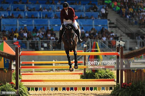 Ali Yousef Al Rumaihi of Qatar riding Gunder competes during the Equestrian Jumping Individual Final Round on Day 14 of the Rio 2016 Olympic Games at...