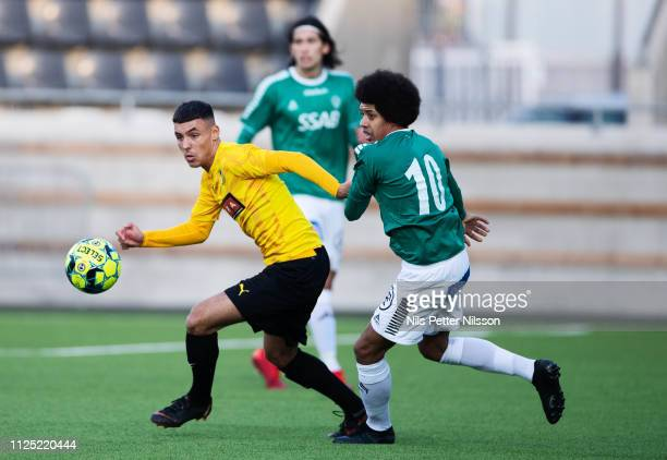 Ali Youssef of BK Hacken and Simon Stenberg of IK Brage during the Svenska Cupen group stage match between BK Hacken and IK Brage at Bravida Arena on...