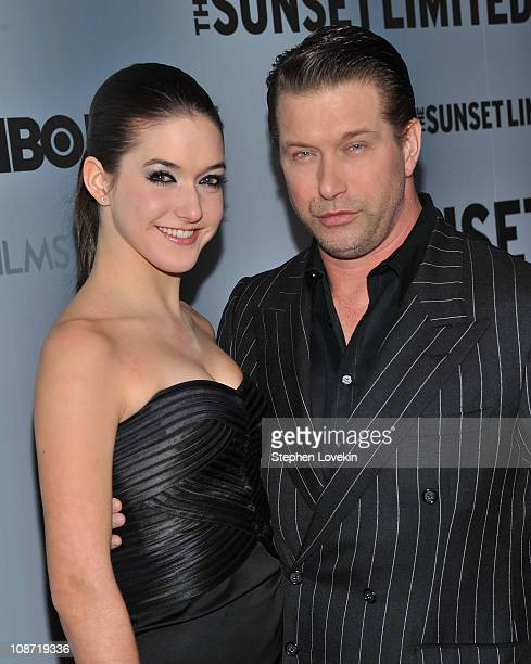 Alia Baldwin and father actor Stephen Baldwin attend the HBO Films The Cinema Society screening of Sunset Limited at Time Warner Screening Room on...