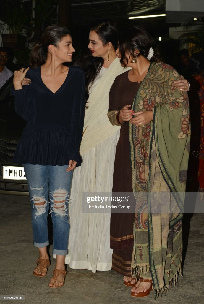 Alia Bhatt Rekha and Vidya Balan at the screening of `Begum Jaan` in Mumbai